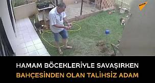 Böceklerden kurtulayım derken bahçesini patlatan adam